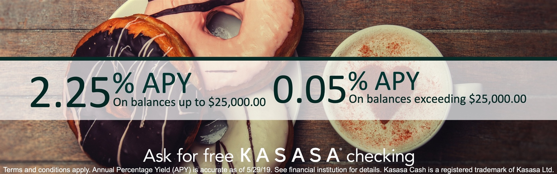 2.25 APY on balances up to 25,000.00 0.05 APY on balances exceeding 25,000.00 Ask for free Kasasa checking Terms and conditions apply APY is accurate as of 5/29/19 See financial institution for details